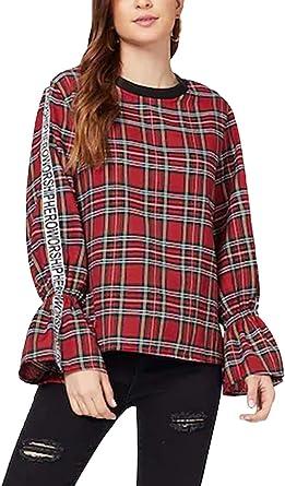 Blusa Mujer Vintage Clásica A Cuadros Camisa Camisas Señoras Basic Primavera Otoño Manga Larga Cuello Redondo Anchos Casual Elegantes Camicia Bluse Tops Ropa: Amazon.es: Ropa y accesorios