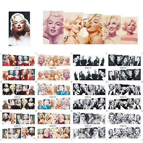 12 sets Hollywood actress Marilyn Monroe playboy pin-up girl NAIL ART DECALS vintage black and white norma jean photo water transfer nail stickers tattoo nail design acrylic nail art vinyls MALU TATAU ()