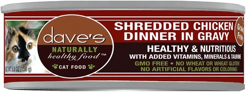 Dave's Pet Food Naturally Healthy Grain Free Shredded Chicken Cat Food 5.5 Oz X 24 Count