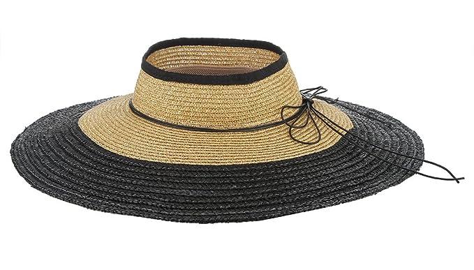 ed778ac998f071 Gemvie Women Floppy Straw Hat Wide Brim Beach Straw Sun Hat Visor Cap Khaki