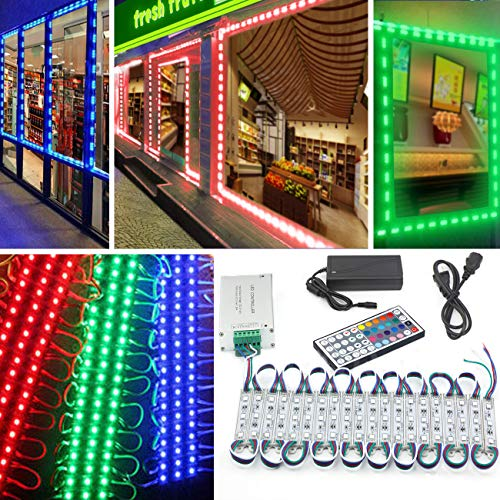 LED Storefront Lights 10 Foot 20 Pieces Waterproof Decorative Light for Letter Sign Advertising Signs LED Light Module LED Window Lights Pomelotree Store Front Window Sign Strip Light (RGB Light)
