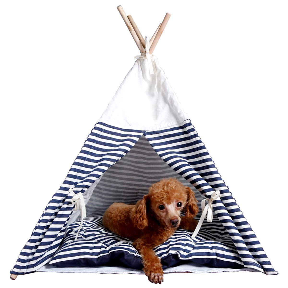 Nocushions Pet Teepee Dog Cat Bed Portable Pet Tents & Houses for Dog(Puppy) & Cat Navy Stripe 26 Inch with Thick Cushion, for Pets Up to 25 lbs