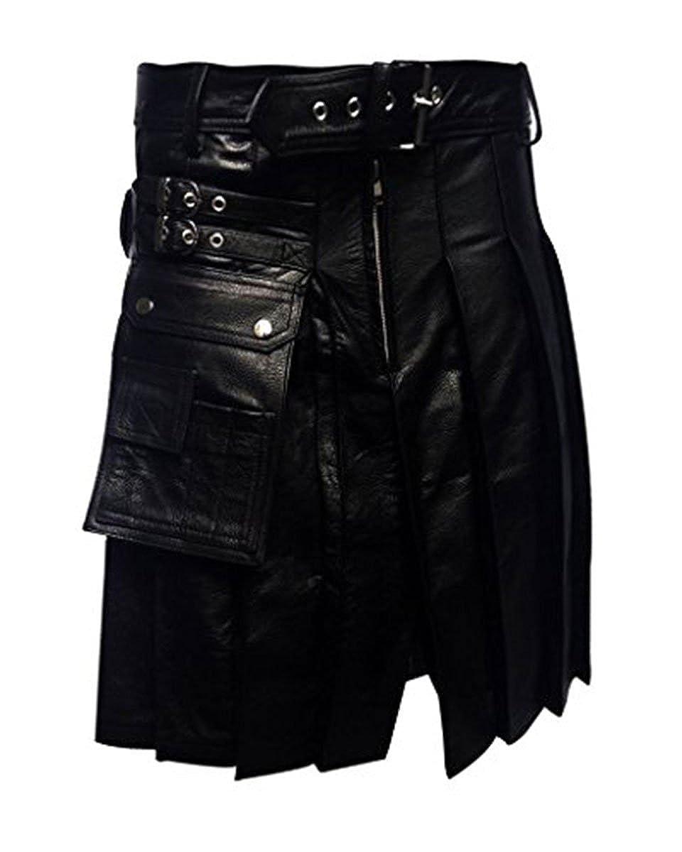 Halloween Mens Real Black Leather Gladiator Pleated Utility Kilt LARP