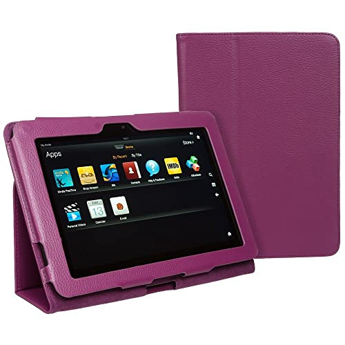 "Hostey® Amazon Kindle FIRE HD 8.9"" inch Leather Case Cover and Flip Stand Cover Typing Case with Magnetic Sleep Wake Sensor + Screen Protector + Capacitive Stylus Pen-Available in Various Colours (PURPLE)"