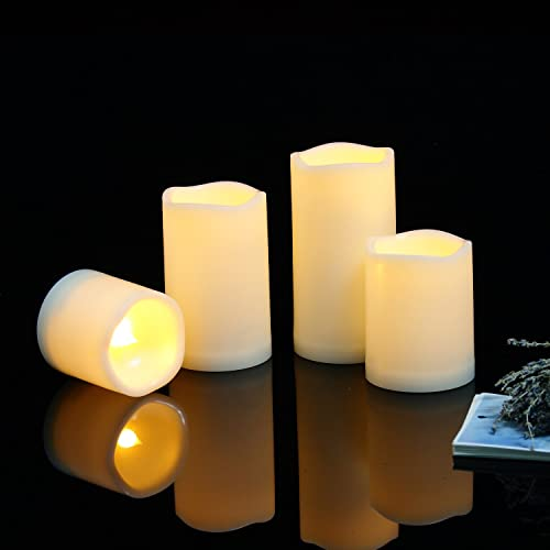 Outdoor Flameless LED Candles with Timer – Long Lasting Waterproof Realistic Flickering Battery-Operated Battery Powered Electric Electronic Pillar Candles 3 D x3 4 5 6 H 4-Pack