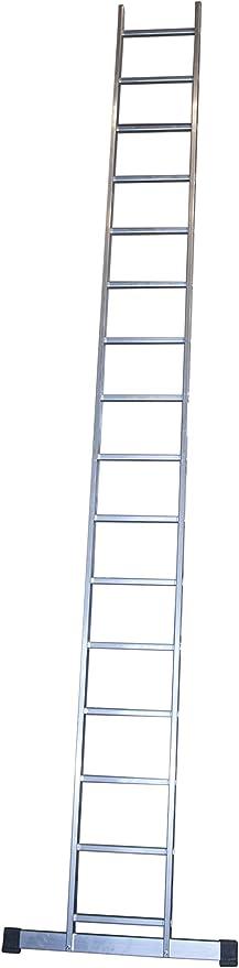 Escalera profesional de aluminio de apoyo simple con barra estabilizadora 16 peldaños serie basic: Amazon.es: Hogar