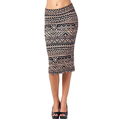 82 Days Women's Ponte Roma Printed Regular to Plus Below Knee Pencil Skirt - Print at Amazon Women's Clothing store