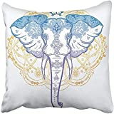 Staroutah Throw Pillow Cover 18''X18'' Decorative Polyester Colorful Elephant With Beautiful Ornaments Ideal Ethnic Tattoo Yoga African Indian Thai Pillowcase Print Two Sides Deco Home