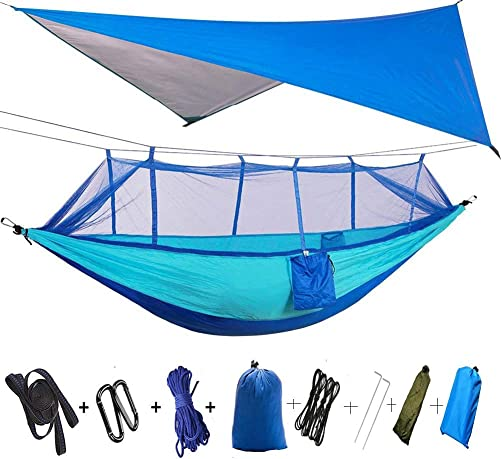 TOPCHANCES Camping Hammock with Mosquito Netting,Premium Quality Portable Leightweight Single Double Nylon Hammock Rainfly Tent Tarp,Tree Straps, Carabiners