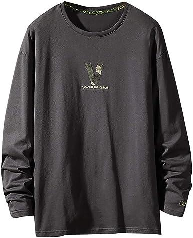 Blanco Camisetas Algodón Cuello Redondo para Hombre, Camiseta de ...