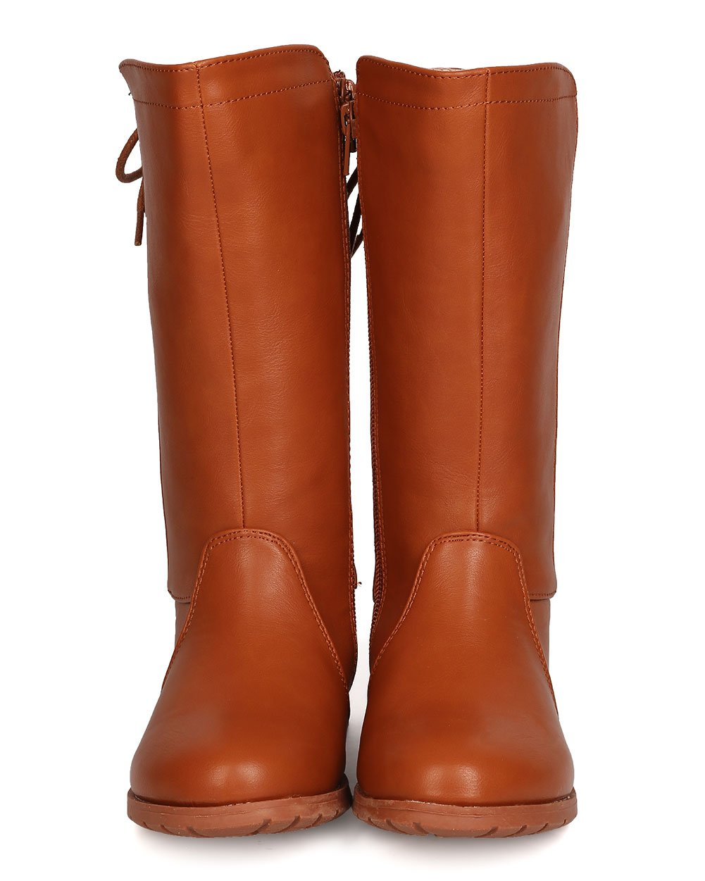 Girls Leatherette Back Lace Up Tall Riding Boot GB45 - Cognac (Size: Big Kid 3) by Little Angel (Image #4)