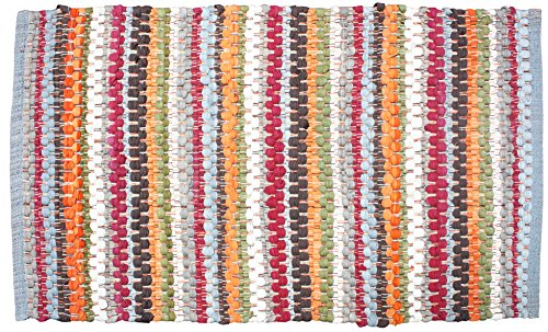 Cotton Contemporary Reversible Indoor Stripe Chindi Woven Area Rag Rug, 24x36