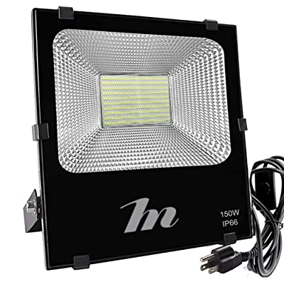 LED Flood Light 150W, HN Waterproof Outdoor Spot Lights 15000lm Daylight 6500k Floodlights with US-3 Plug&Switch for Yard, Garage, Garden, Lawn