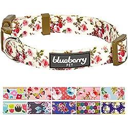 "Blueberry Pet 11 Patterns Spring Scent Inspired Pink Rose Print Ivory Dog Collar, Large, Neck 18""-26"", Adjustable Collars for Dogs"