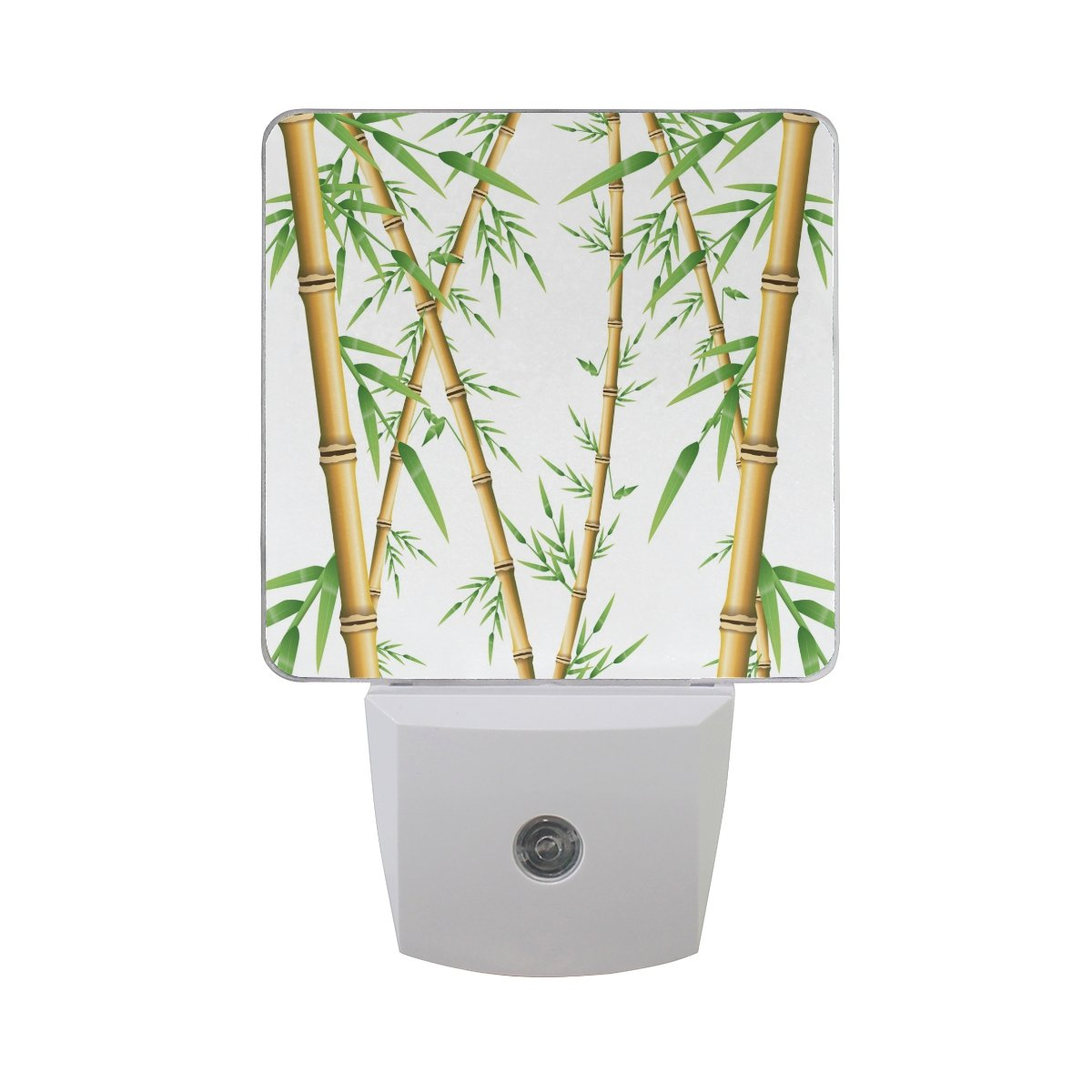 Naanle Set of 2 Bamboo Forest Nature Spa Green Plant Tree With Stem Leaves On White Auto Sensor LED Dusk To Dawn Night Light Plug In Indoor for Adults