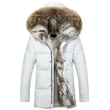 Fowii Invierno Pelo con Capucha Desmontable Cuello Cálido Parker Nieve Hombres Chaqueta Blanco XXL: Amazon.es: Ropa y accesorios