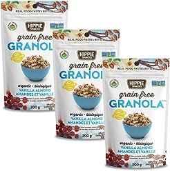 Hippie Snacks Gluten Free Organic Granola - Vanilla Almond, 3 x 200 gram pack