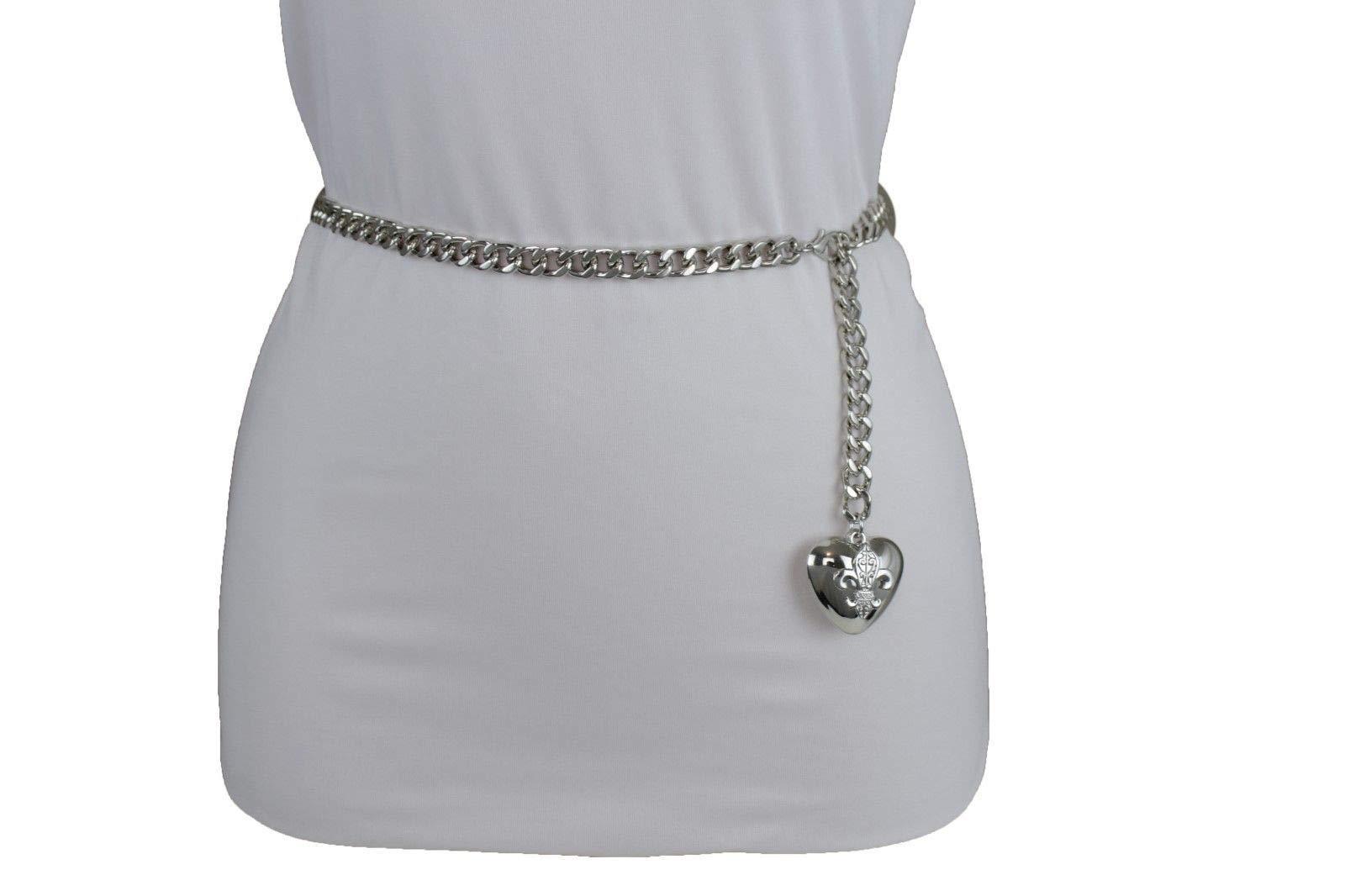 Women Hip Waist Silver Metal Chain Fashion Belt Love Heart Buckle Charm XS S M by RIX Fashion Luxury (Image #4)