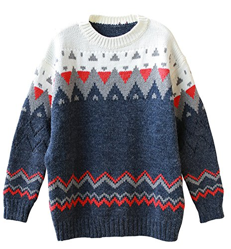 wanture Women's Vintage Fair Isle Sweater Long Pattern Thick Jacquard Nordic Style Vogue Colorful Christmas Pullover Navy Free