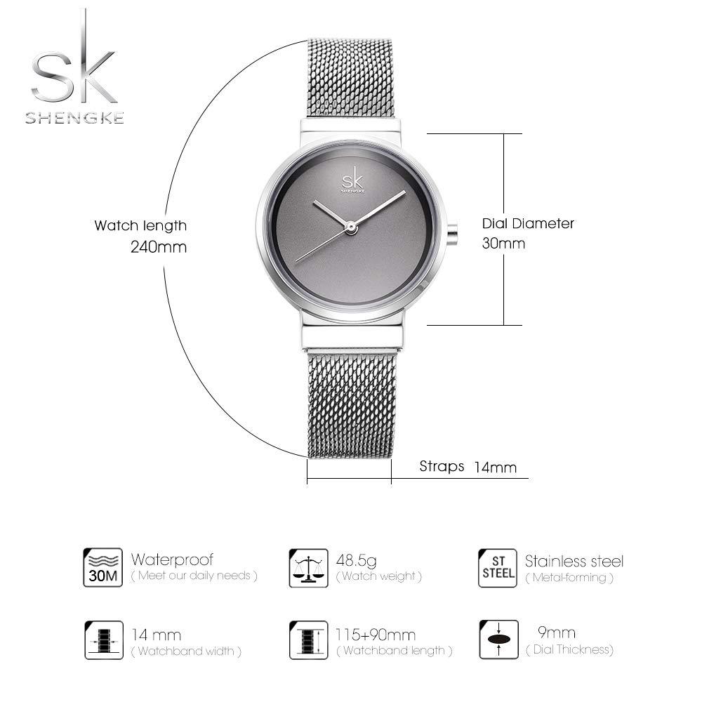 Amazon.com: SHENGKE Fasion Women Watches Quartz Ladies Watch Elegant Slim Mesh Steel Waterproof Wristwatch reloj de Mujer: Watches