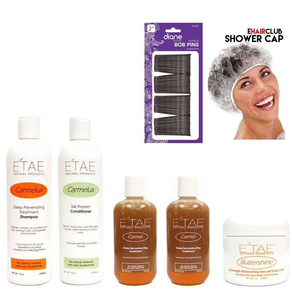 Etae Natural Products Carmelux Shampoo, Conditioner, 2 E'tae Carmel Treatment, Buttershine Kit (5 items) w/ Free Cap and Bobby Pins