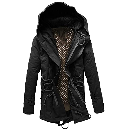 Amazon.com: Pandaie-Mens Product Work Wear for Men Winter. Men Winter Warm Hooded Zip Thick Solid Fleece Coat Outwear Wind Jacket: Clothing