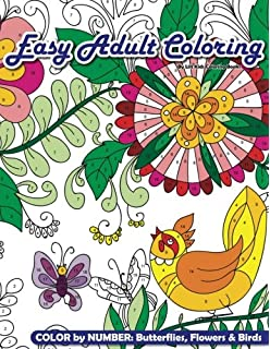 Easy Adult Coloring Color By Number Butterflies Flowers Birds Beautiful