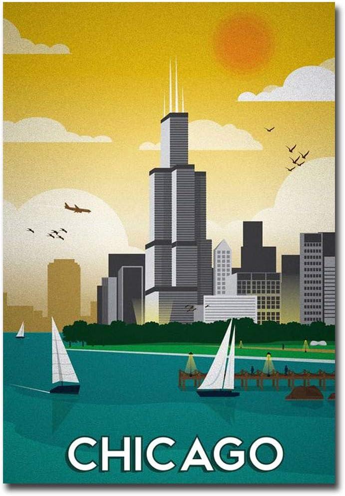 "Chicago Vintage Travel Art Refrigerator Magnet Size 2.5"" x 3.5"""