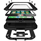 iPhone 7 Plus Case, CarterLily Full Body Shockproof Dustproof Waterproof Aluminum Alloy Metal Gorilla Glass Cover Case for Apple iPhone 7 Plus 5.5'' - Black