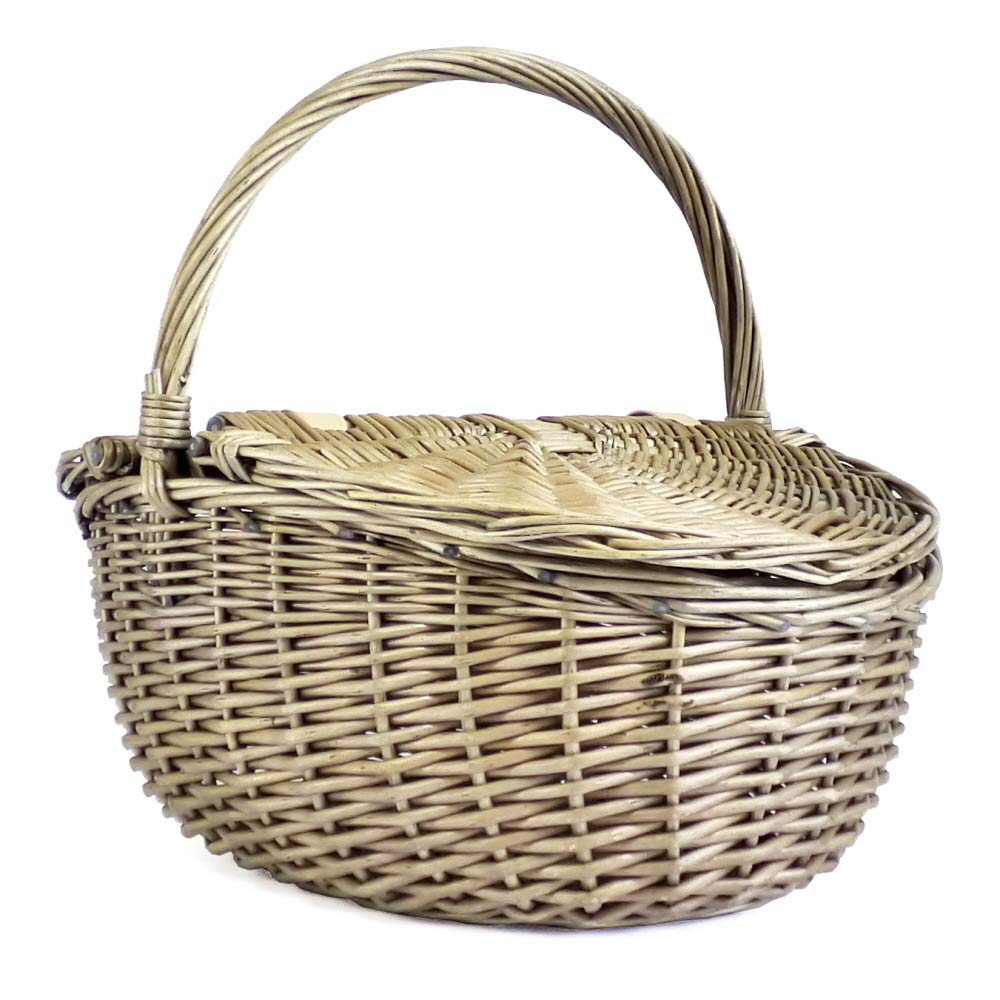 Fine Food Store Wicker Oval Picnic or Shopping Basket with Lid and Handle - Gift ideas for Christmas, Valentines, Mother's Day, Birthday, Business and Corporate Mother's Day