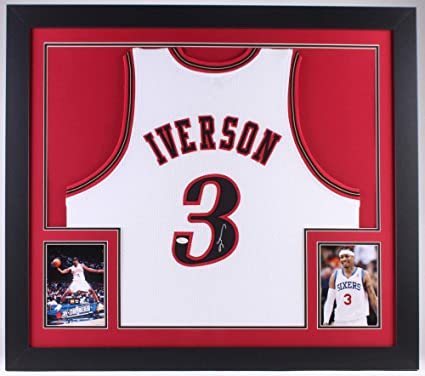 1b81a71267a Image Unavailable. Image not available for. Color  Allen Iverson  Autographed Signed Philadelphia 76ers 31X35 Custom Framed Jersey  Memorabilia JSA COA