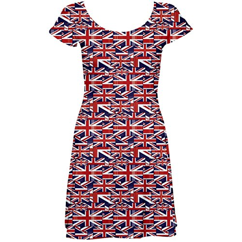 CowCow Red Pattern of British Flag Short Sleeve Skater Dress, Red-L]()
