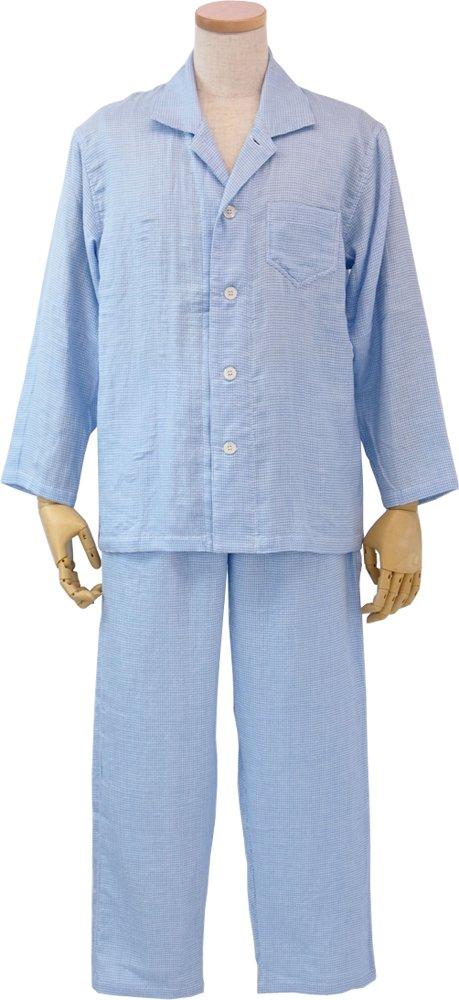 UCHINO メンズパジャマ マシュマロガーゼギンガムチェック 綿100% 素肌に心地良い (LA) ブルー RPZ18312 LA B B079JFW8XKLA