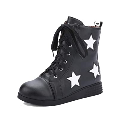 65468dcd471c AmoonyFashion Women s Ankle-High Lace-Up Pu Low-Heels Round-Toe Boots