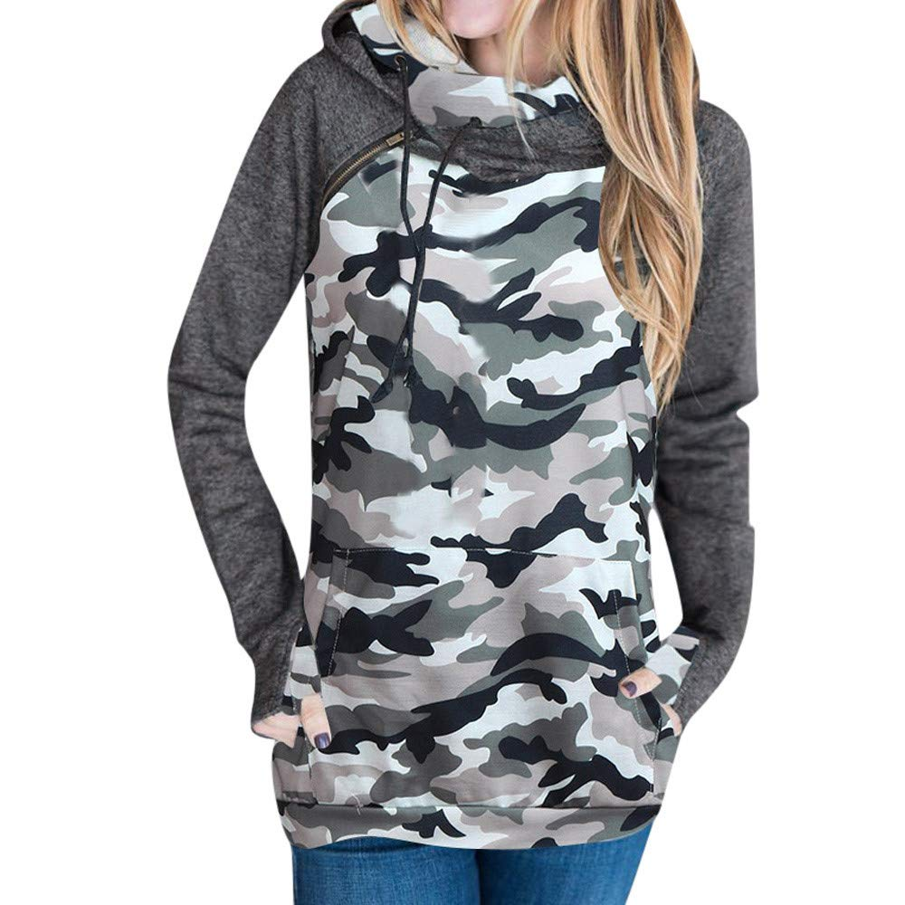 Clearance ❤ Women Sweatshirt JJLIKER Fashion Camouflage Long Sleeve Casual Hooded Pullover Blouse (Camouflage, L)