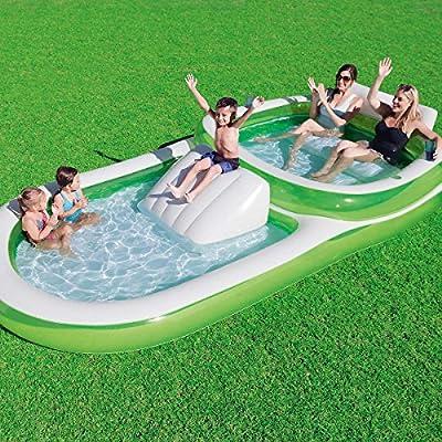 Bestway H2OGO! Piscina de Aire Libre para Familia Hinchable 2 en uno, con Doble Piscina y Compartimento Deslizante, Soporte para Tazas, fácil de Instalar, Verde/Blanco: Amazon.es: Jardín
