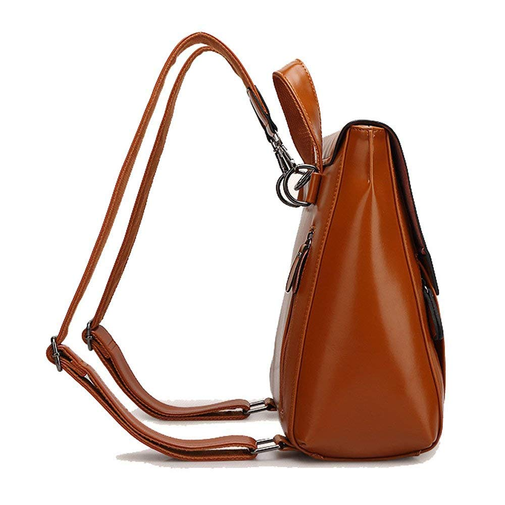 LASKP PU Leather Backpack Purse Casual Daypacks for Girls Womens Minimalist Retro,D