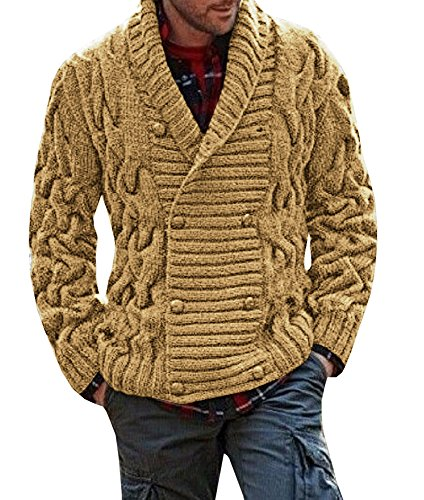 Coutgo Men's Thick Coat Cashmere V Neck Sweater Cardigan Male Wear Wool (Turtleneck Sweater Coat)