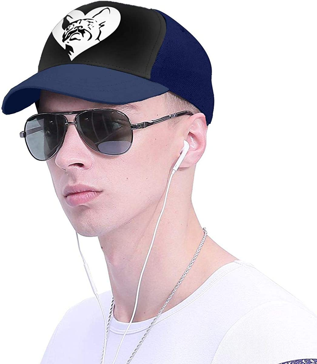 YOUNAOQQ Lovely French Bulldog Heart Unisex Baseball Cap Adjustable Hats Dad Hat Cap Sports Hat