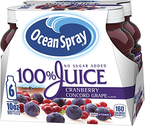 (Ocean Spray 100% Juice Cranberry Concord Grape, 10 Ounce Bottles (Pack Of 6)