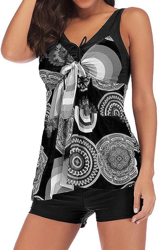 BaZhaHei Tankini Costume da Bagno da Donna a Due Pezzi con Stampa del Cinturino Costumi da Bagno con Canottiera e Pantaloncini,Swimjupmsuit Swimsuit Taglie Forti