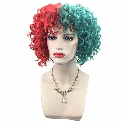 cosplaza Holiday pelucas Rojo Verde rizos Corto película Halloween Fiesta Disfraz Cosplay peluca