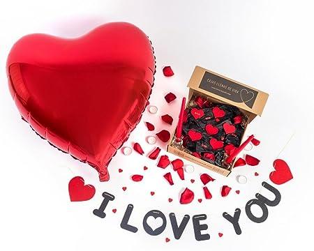 Pack ROMÁNTICO I Love You(100 Pétalos Rosa Preservados+1 Guirnalda ...