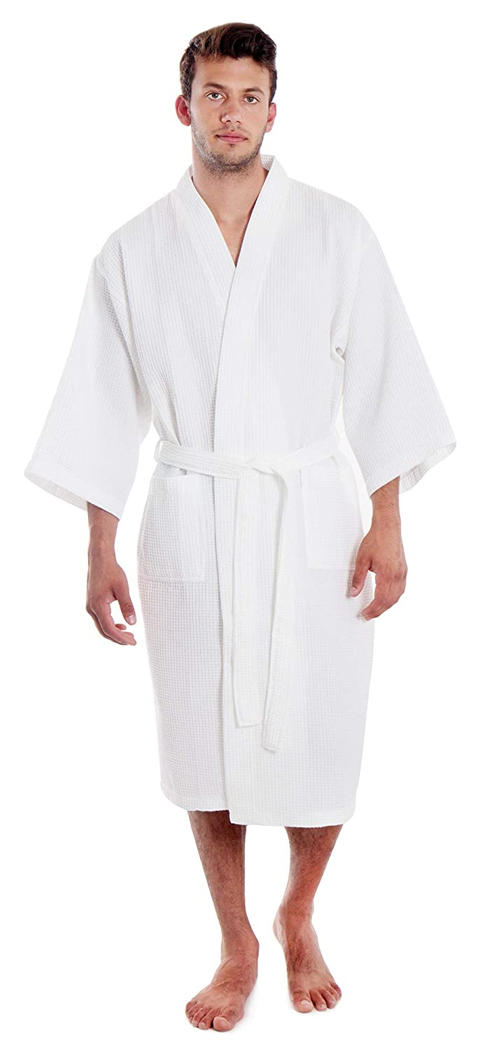 962fa4e2f0 White Waffle Spa Robe Unisex Cotton Robe - New Low Price One Size Fits Most  at Amazon Women s Clothing store  Bathrobes