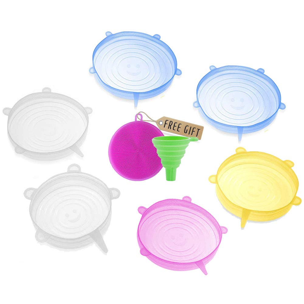 """DARUNAXY Silicone Stretch Lids, 6 pcs Assorted Color Same Sizes and Shape of Containers,Reusable, Durable and Expandable Food Covers, Keeping Food Fresh, Dishwasher and Freeze (Diameter 4.52"""")"""