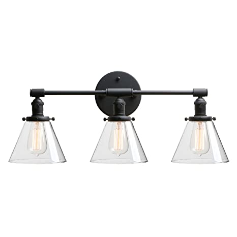 new style 913c2 19b61 Phansthy Bathroom Vanity Lamp Black Wall Sconce Light Fixture with 7.3  Inches Cone Clear Glass Canopy, Black