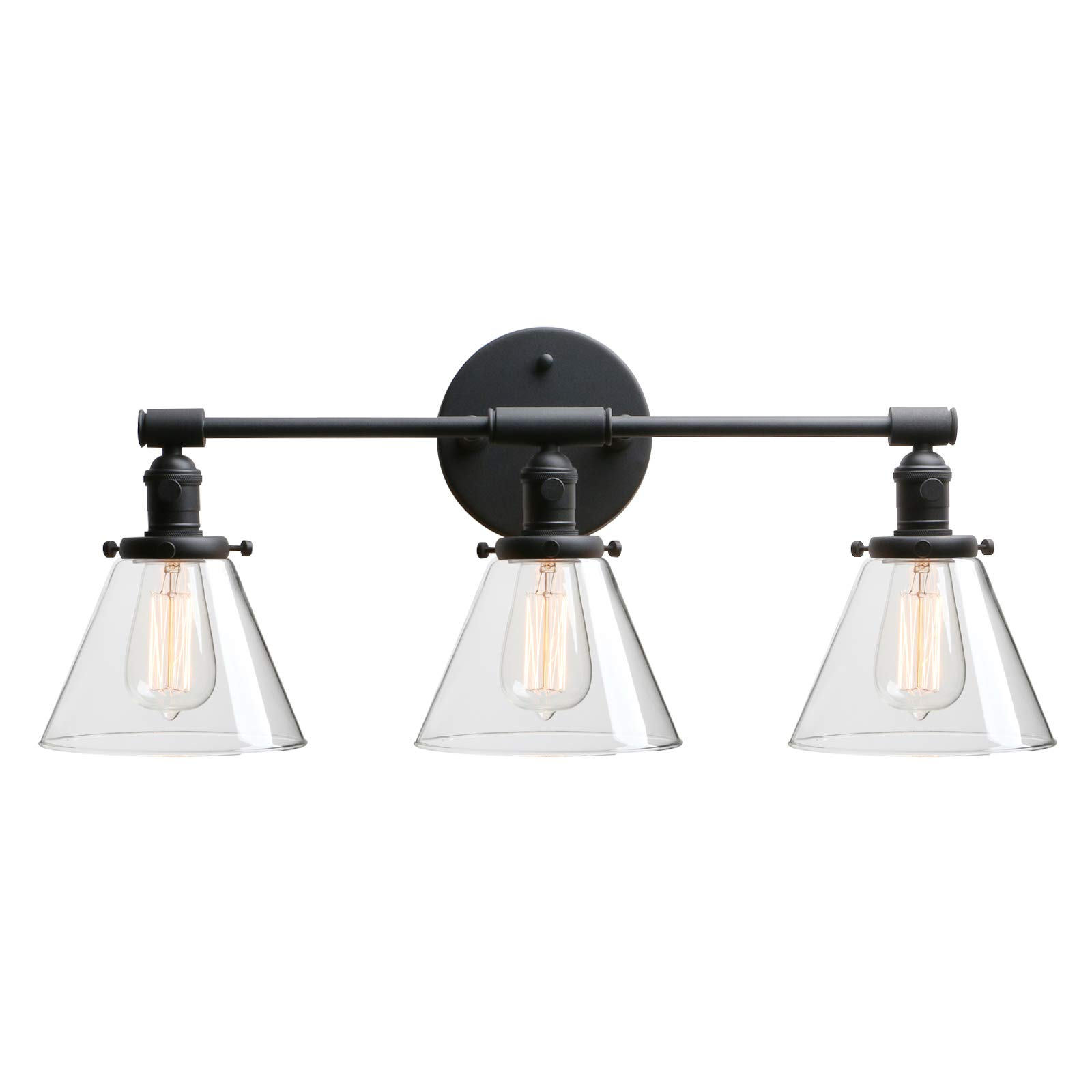 """Phansthy Bathroom Vanity Lamp Black Wall Sconce Light Fixture with 7.3"""" Cone Clear Glass Canopy, Black"""