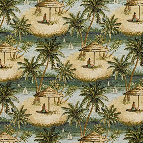 J9400B Green and Beige Island Ocean Palm Trees Woven Designer Decorative Novelty Upholstery Fabric by The Yard
