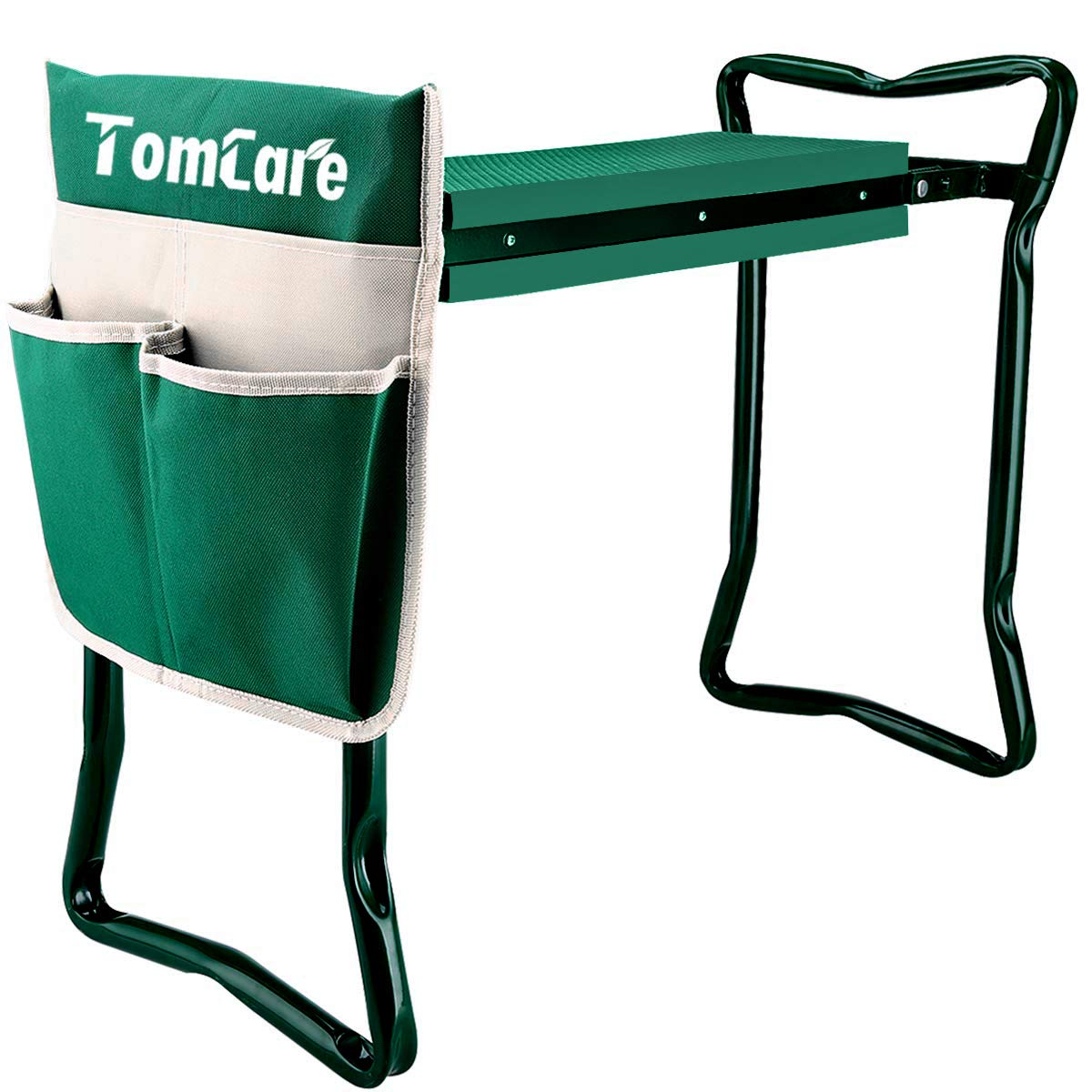 TomCare Garden Kneeler Seat Garden Bench Garden Stools Foldable Stool with Tool Bag Pouch EVA Foam Pad Outdoor Portable Kneeler for Gardening Large-21.65 x 10.62 x 18.89 ,Green