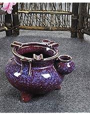 SDKKY Cenicero de cerámica creativa de grado variable continental de hielo cenicero retro Dehua,Ice flower